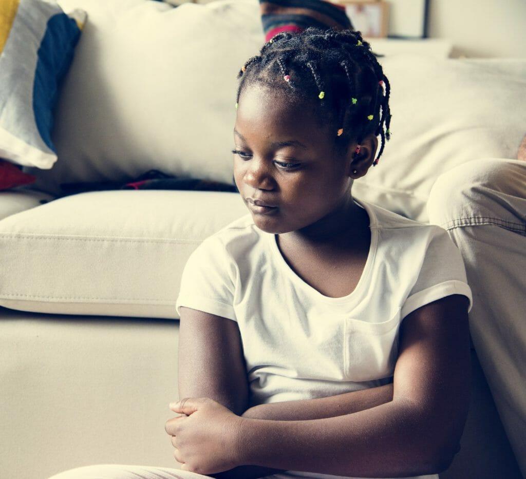 Black girl with sadness emotion